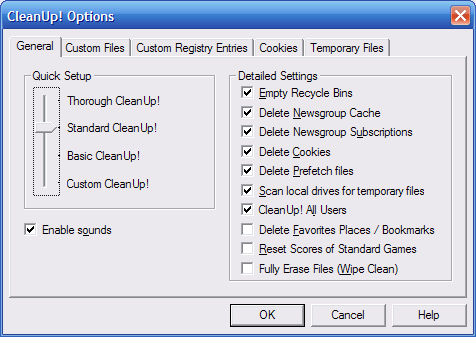 Cleanup Options